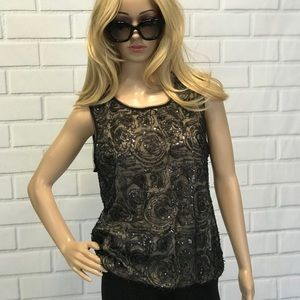 Black mesh sequin top